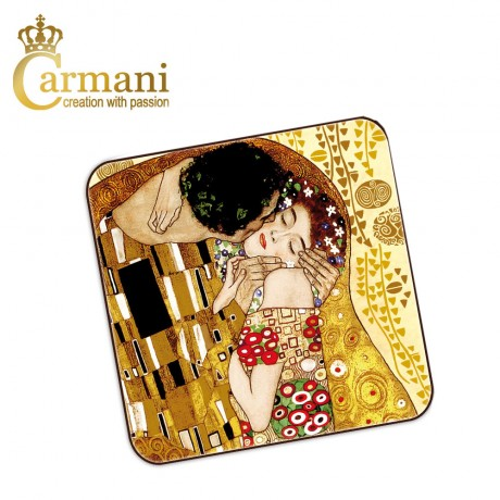 1 piece cork pad / coaster decorated with The Kiss  by Gustav Klimt