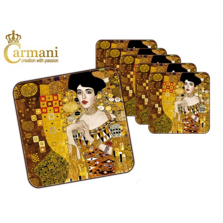 1 piece cork pad / coaster decorated with Adele by Gustav Klimt