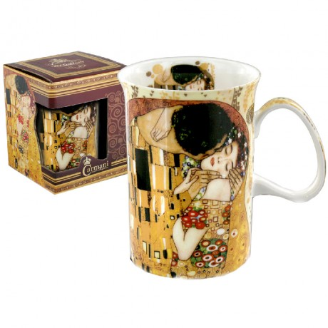 Classic mug decorated with Klimt paintings: The Kiss