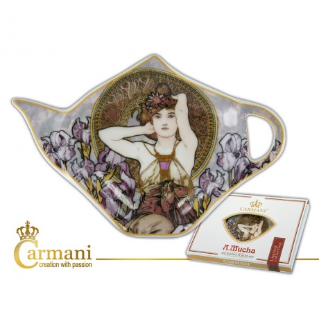 Elegant Tea Bag Holder Dish in Teapot shape, decorated with Amethyst by Alfons Mucha
