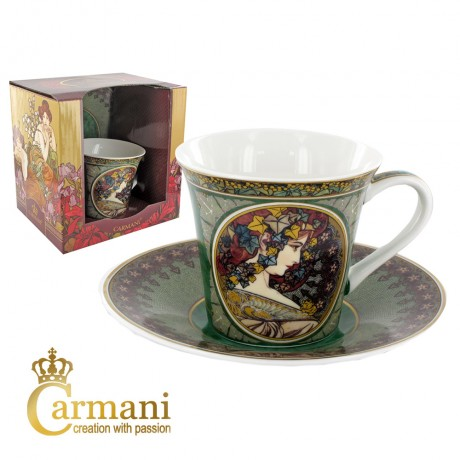 Small cup with saucer decorated with Ivy by Alfons Mucha paintings