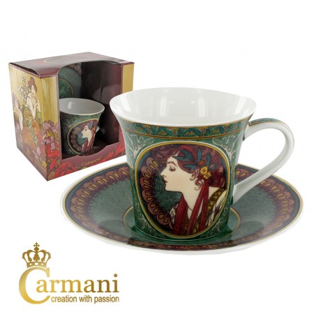 Small cup with saucer decorated with Laurel by Alfons Mucha paintings