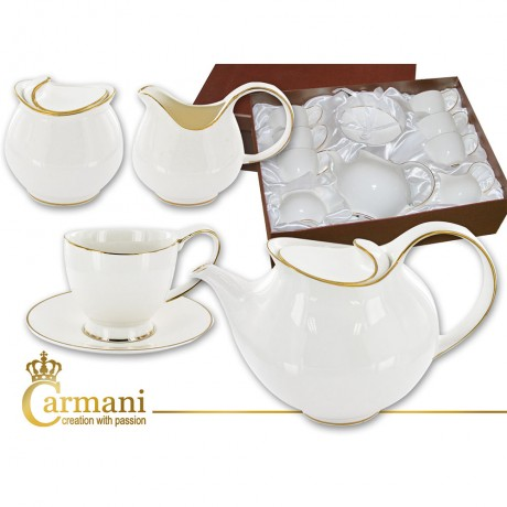 Snow-white Porcelain Tea Set with real gold decoration