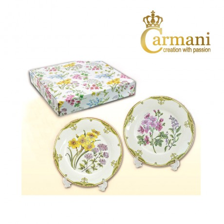 Fancy set of 2 dessert plate decorated with Spring flowers