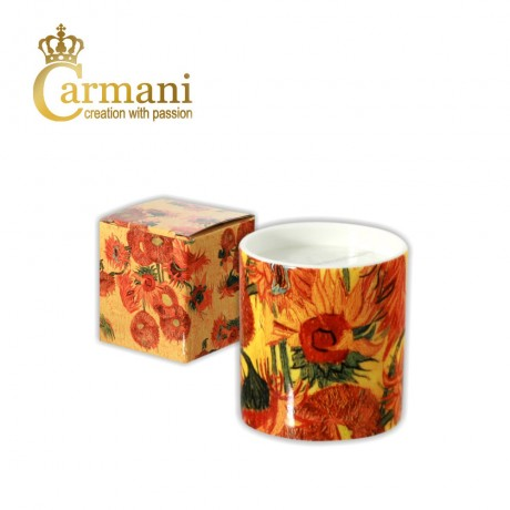 "Fancy candle decorated with ""Sunflowers"" by Vincent Van Gogh - Art Gallery Collection"