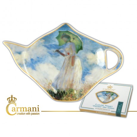 Elegant Tea Bag Holder Dish in Teapot shape, decorated with The Walk Woman... by Claude Monet