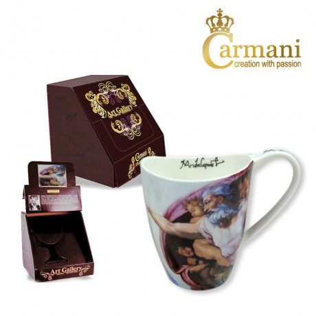 Large porcelain mug decorated with The Creation Of Adam by Michael Angelo