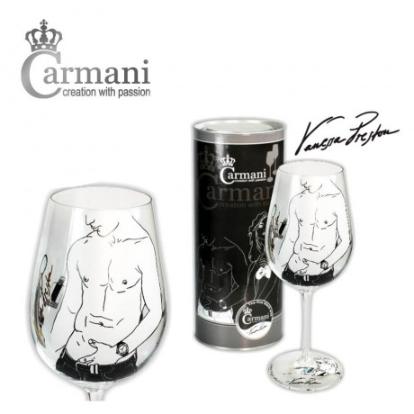 Art Gallery Collection - Fancy Wine Glass decorated with Vanessa Preston drawing