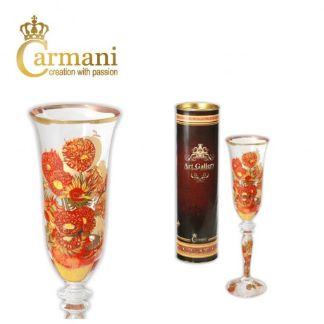 Art Gallery Collection - Fancy Champagne Glass decorated with Van Gogh painting