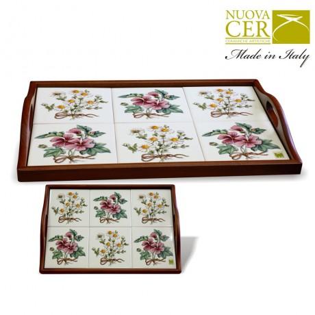 NUOVA Ceramic Tray with wood handle - Botany
