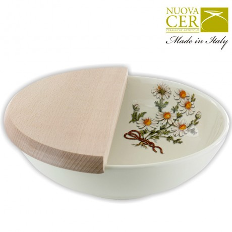 Ceramic Bowl with half wood board - Botany Collection