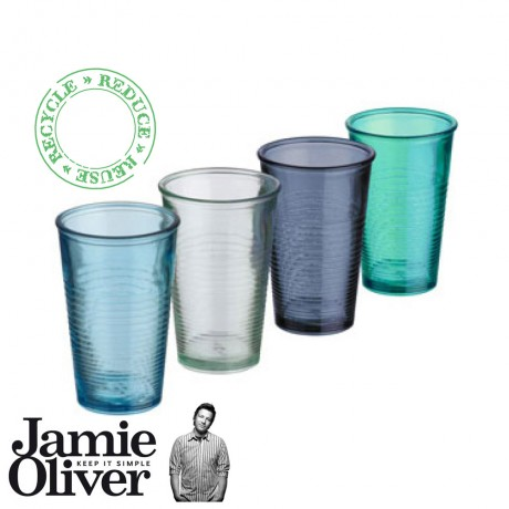 4 Colored Recycled Water Glasses