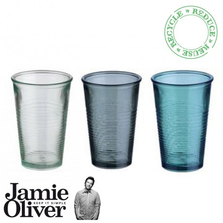 3 Colored Recycled Water Glasses