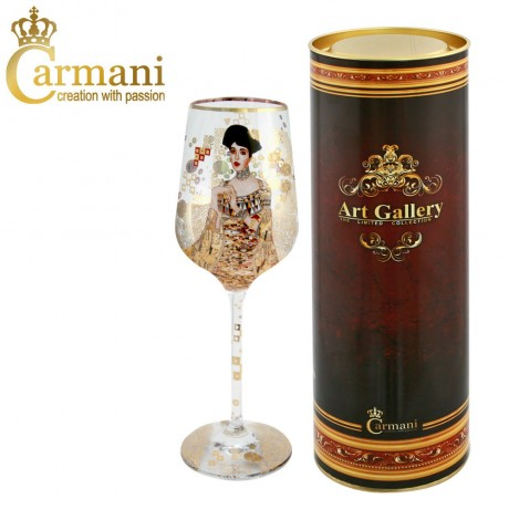 "Art Gallery Collection - Fancy Wine Glass with ""Adele"" by Gustav Klimt"
