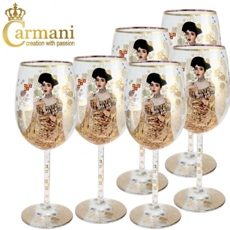 "Fancy Wine Glass with ""Adele"" by Gustav Klimt set of 6 - Art Gallery Collection"