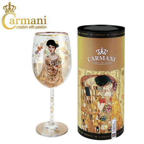 "Fancy Wine Glass with ""Adele"" by Gustav Klimt - Art Gallery Collection"