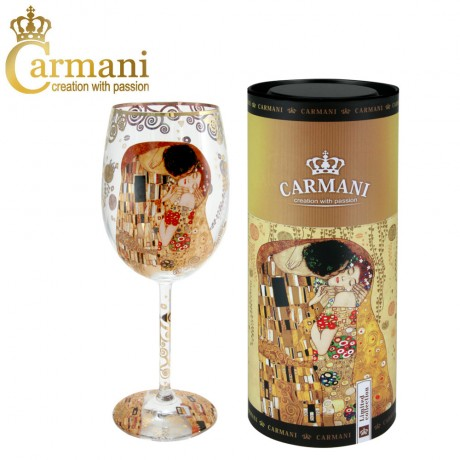 "Fancy Wine Glass with ""The Kiss"" by Gustav Klimt - Art Gallery Collection"