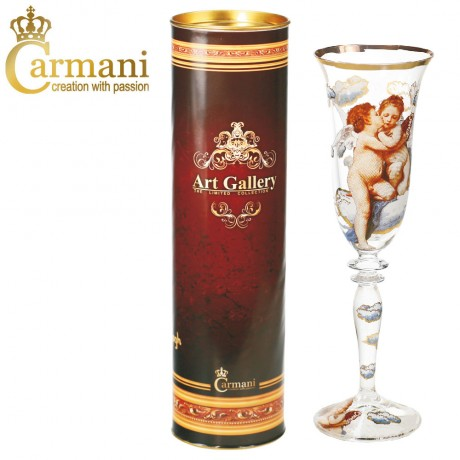 "Fancy Champagne Glass with ""Firdt Kiss"" by Bouguereau - Art Gallery Collection"