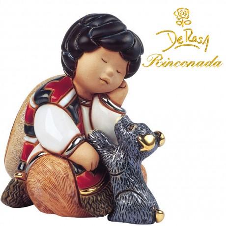Girl with a dog Figurine
