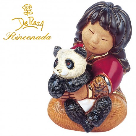 Girl with panda Figurine