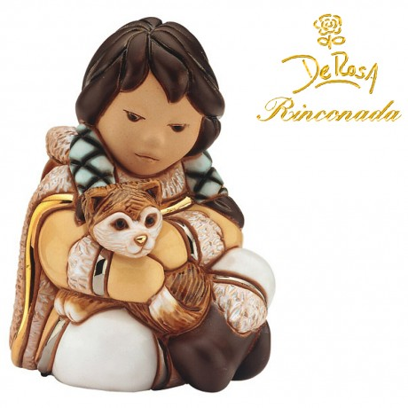 Girl with the brown dog Figurine