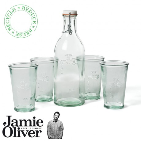 JAMIE OLIVER Recycled Water Carafe and Water Glass set of 4