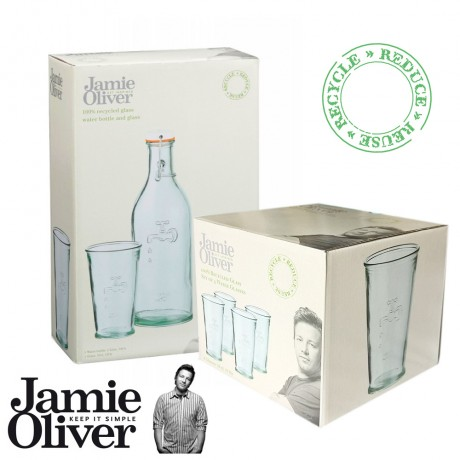 JAMIE OLIVER Recycled Water Carafe + 5 pcs Water Glass