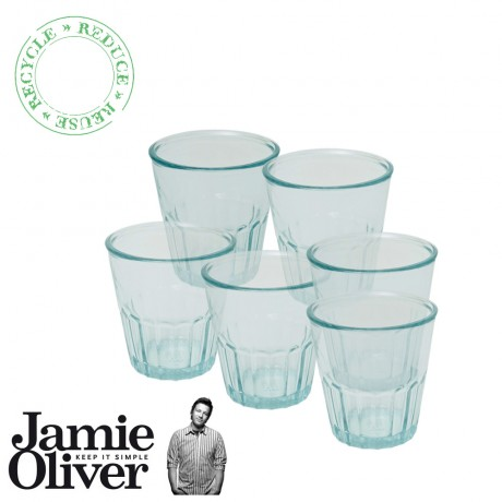 JAMIE OLIVER Set of 6 Recycled Drinking Glasses Thumbler 250ml