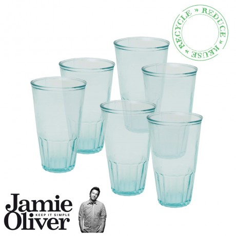 JAMIE OLIVER Set of 6 Recycled Drinking Glasses Thumbler 500ml