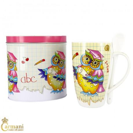 Owl Design Coffee Tea Drinking Mug + Spoon 400ml
