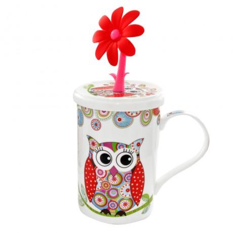 Owl Design Coffee Tea Drinking Mug with lid 350ml