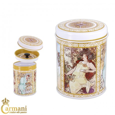 Small Metal Tin with Mucha painting Storage Box with Lids 6.5x9cm