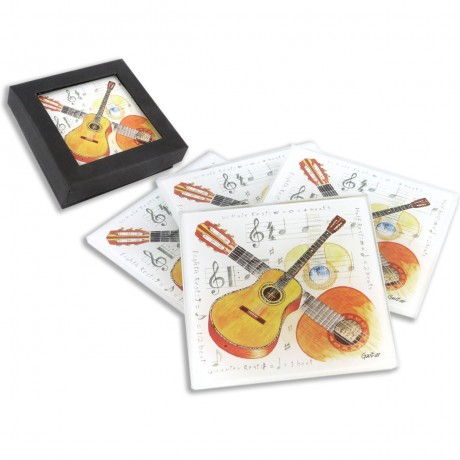 Glass Coaster Drinks Bar Pad set of 4 with Music instrument GUITAR 10.5x10.5cm