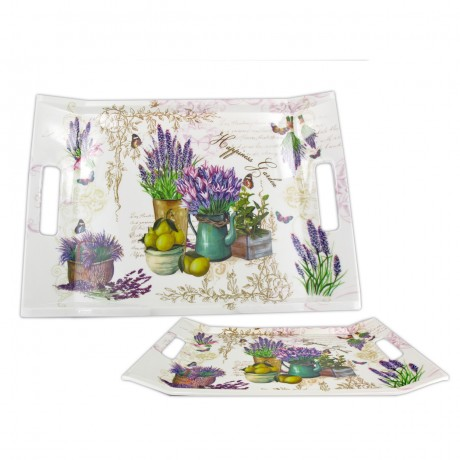 Lavender Rectangular Tray-High Gloss Melamine Serving Tray 38x20,5cm