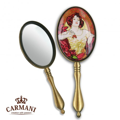 Shabby Chic Dressing Table Hand Mirror with `Rubin` A. Mucha