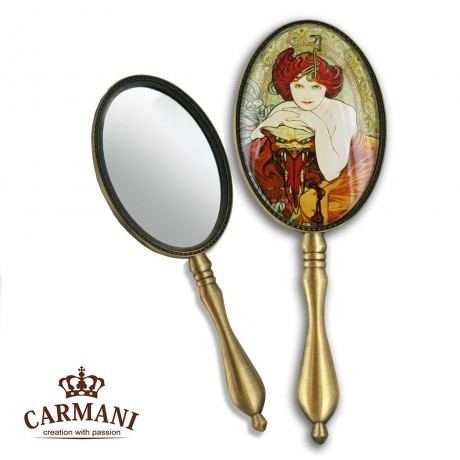 Shabby Chic Dressing Table Hand Mirror with `Emerald` A. Mucha