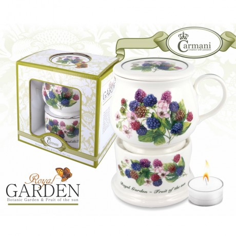 Porcelain mug and lid + heater with blackberry motif 400 ml