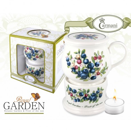 Porcelain mug and lid + heater with blueberry motif 400 ml