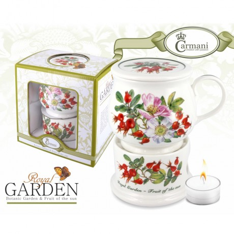 Porcelain mug and lid + heater with rosehips motif 400 ml
