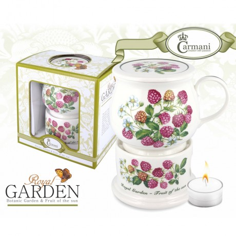 Porcelain mug and lid + heater with raspberry motif 400 ml