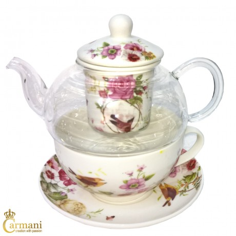 Vintage Pink Roses Tea for one teapot, cup and saucer set, with loose tea infuser brewing system