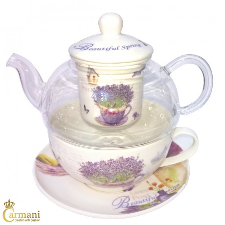 Vintage Lavander Tea for one teapot, cup and saucer set, with loose tea infuser brewing system