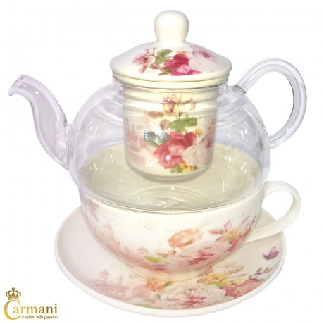 Vintage Pink Peony Tea for one teapot, cup and saucer set, with loose tea infuser brewing system