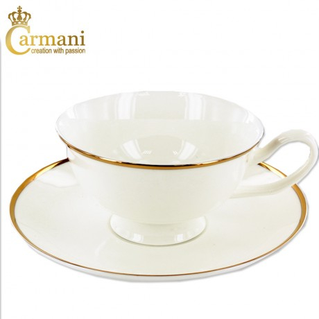 Creamy porcelain tea cup and saucer with gold line motif 190ml