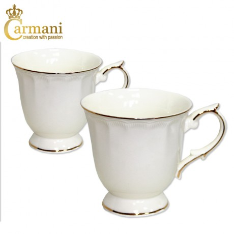 Set of 2 Creamy porcelain mug with wavy pattern and gold line motif 280 ml