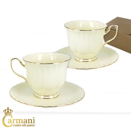 Set of 2 Creamy porcelain tea cup and saucer with gold line motif 200ml