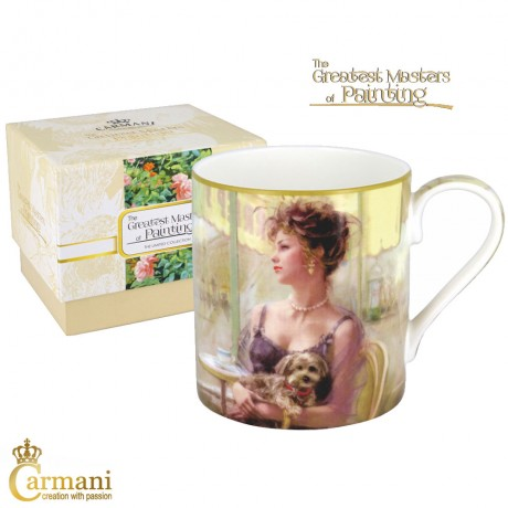 "Classic Mug decorated with Impressionist painting ""In the cafeteria"" 380 ml"