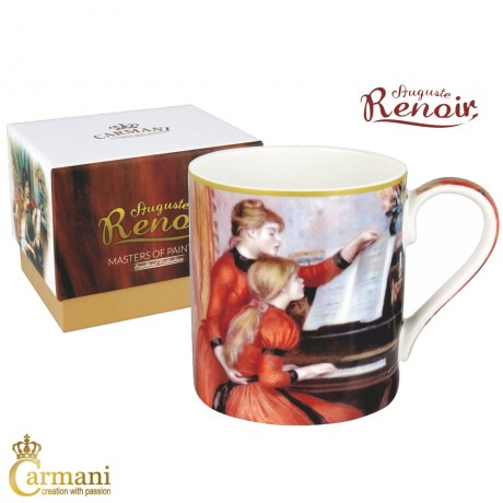 "Classic Mug decorated with Renoir ""Yvonne and Christine Lerolle at the Piano"" painting 380 ml"