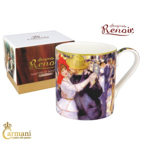 "Classic Mug decorated with Renoir ""Dance at Bougival"" painting 380 ml"