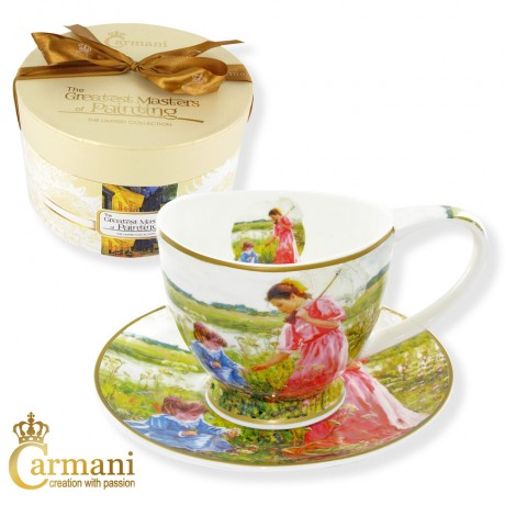 Porcelain Cup and Saucer set with Averin - The girls on the meadow 280 ml